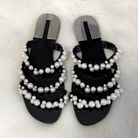 Blogger sandals with pearls